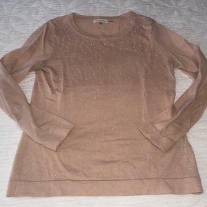 Calvin Klein Pink knit Wool blend sweater dots Med